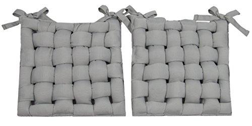 Zollner 2er Set Sitzkissen Stuhlkissen, 40x40 cm, hellgrau (weitere verfügbar), für drinnen und draußen
