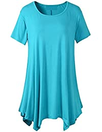 Mujer blusa,Sonnena ❤️ ❤️ ❤️ Color sólido Camiseta de manga corta floja con cuello en V ocasional para mujer Casual traje de Actividades al aire libre