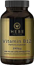 Vitamin B12 Methylcobalamin 1000 μg, hochdosiert, 250 Lutschtabletten, 8-Monats-Versorgung, vegan, hoch bioverfügbar, Premium-Qualität von Hebe Nutrition