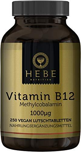 Vitamin B12 Methylcobalamin 1000 μg, hochdosiert, 250 Lutschtabletten, 8-Monats-Versorgung, vegan, hoch bioverfügbar, Premium-Qualität von Hebe Nutrition -