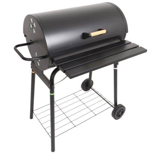Azuma Black Steel Barrel BBQ Barbeque Charcoal Grill Cooking Garden Patio Wheels