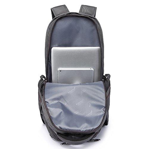 KAUKKO Herren Segeltuch Jahrgang Laptoptasche Reise Rucksack mit 27×21×48 cm Khaki Grau38