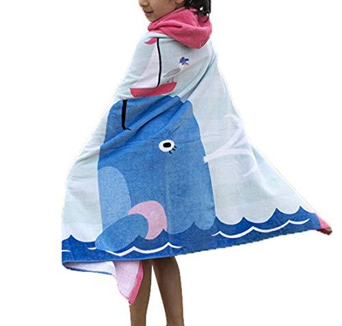 Ymwave Kinder Kapuzen Handtuch Bade Badetuch Bademäntel Strandtuch Badetuch Baby Kapuzentuch für Jungen und Mädchen 100% Baumwolle, Delphin,