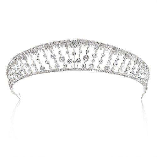 SWEETV Transparente Princesa Corona Tiara Diadema Rhinestone Diamante De Imitación Nupcial Tocado