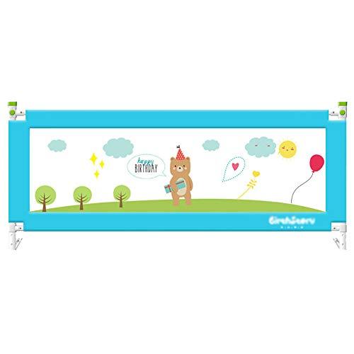 Barrière de lit Baffle Clôture De Berceau Barre De Lit pour Enfant Barrière Incassable pour Enfant Levage Vertical Et Descendant, Hauteur 80cm Réglable, 1 Côté, 1.2m / 1.5m / 1.8m / 2m, Bleu