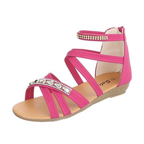Sandalen Kinder-Schuhe Römersandalen Keilabsatz/ Wedge Mädchen Reißverschluss Ital-Design Sandalen Pink, Gr 32, A11B-