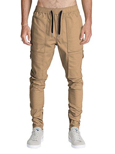 ITALY MORN Herren Cargo Chino Hose Sweatpants Sporthose Jogging Baggy Jogginghose Slim Trainingshose Cargo Pants Twill Schwarz (S, Khaki)