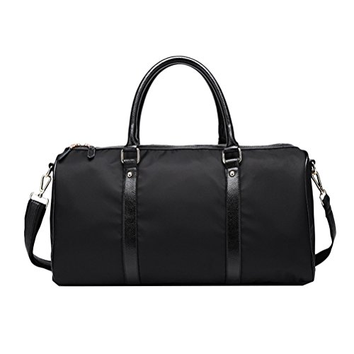 Zhhlinyuan Nylon Bag Travel Carry On Duffel Tote Bags Weekend Overnight Travel Bag Unisex Travel Holdall Handbag with Quality Leather (Carry On Travel Bag)