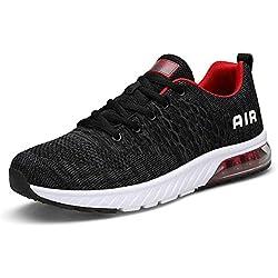 Hombre Mujer Zapatillas Deporte para Zapatillas de Ligeras Running Transpirables Cómodas Correr para Zapatos de Malla(8082-Gris/Rojo,46EU)