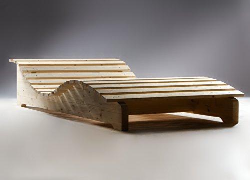 TUGA Holztech Naturholz massive wetterfeste extrem stabile stehende Liege Relaxliege Massivholzliege Liege Formliege LIEGELÄNGE ca. 205cm 70cm Breite