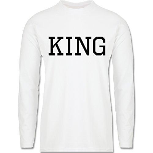 Partner-Look Pärchen Herren - King schwarz - Longsleeve / langärmeliges T-Shirt für Herren Weiß