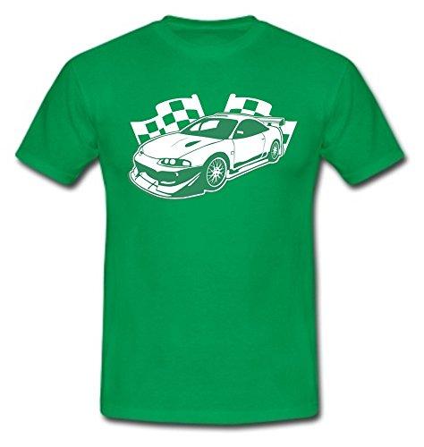 T-Shirt Eclipse Sportwagen Rennwagen Autorennen Motorsport kellygreen/weiß