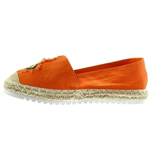 Angkorly Damen Schuhe Espadrilles Mokassin - Slip-on - Sneaker Sohle - Fantasy - Bestickt - Seil Flache Ferse 2.5 cm Orange