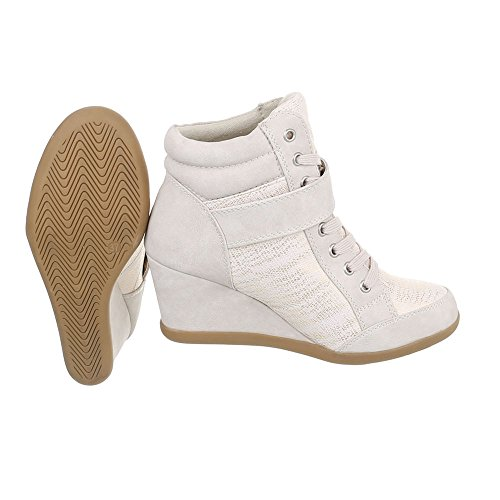 Chaussures Femme Baskets Sneakers Haute Ital-design Beige