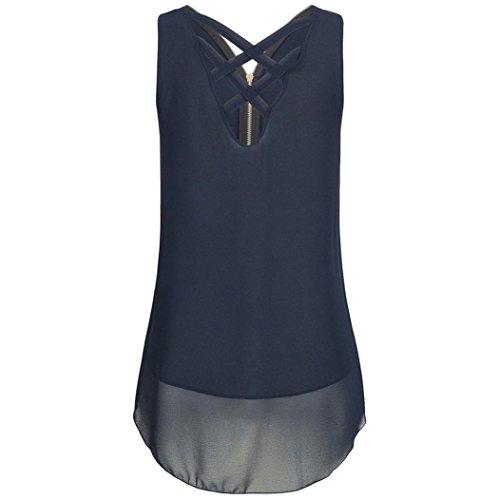 Ba Zha HEI Frauen Sommer Spitze Weste Top Sleeveless beiläufige Tank Bluse Tops Damen Schulterfrei Weiches Material Ladies Sommer Elegant Chic Oberteil Locker Bluse Tops T-Shirt (Blau, XL) -