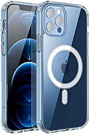 جراب مغناطيسي شفاف لهاتف iPhone 12/12 Pro/12 Pro Max مع غطاء واقي من السيليكون الصلب من مادة TPU المطاطية مضاد