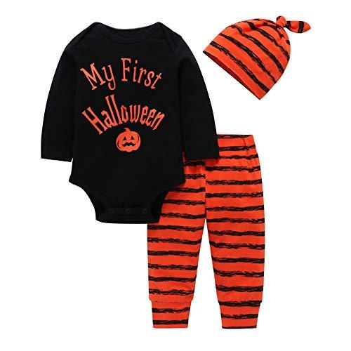 (Riou Kinder Langarm Halloween Kostüm Top Set Baby Kleidung Set 3PCS Halloween Kinder Baby Brief Print Strampler + Streifen Print Hosen + Hut Set Outfit (Schwarz, 80))