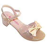 Girls Pale Gold Sparkly Low Heeled Party Holiday Sandals