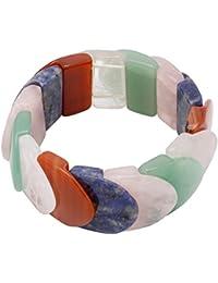 Multicolor Pulsera de cristal de roca Ágata cornalina Jade Cuarzo Rosa Sodalita Pulsera Joyas