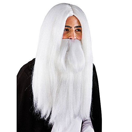 Weiße Zauberer-Perücke u. Bart - Karneval / Halloween-Zusatz
