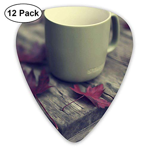 Fall Red Leaves and Coffee Cup Classic Guitar Pick (12 Pack) for Electric Guita Bass Cup-fall-pack