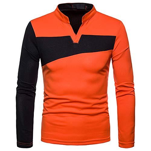 Langarm Popeline-uniform (KPILP T-Shirt Herren Poloshirt Bluse Bluse Stilvolle Casual Langarm Unregelmäßige Patchwork Henry Kragen Oberteile Outwear Herbst Winter(Orange, 2XL)