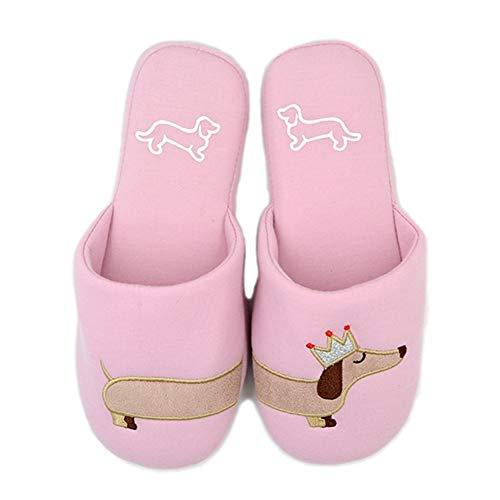 amen Fuzzy Pink Hund Plüsch Baumwolle Hausschuhe Slip On Dackel Plüsch Hausschuhe, 37 EU ()