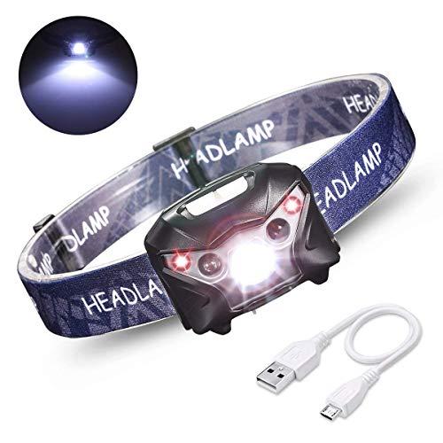 USB Stirnlampe Kopflampe LED IPX4 Wasserdichte Headlamp wiederaufladbare Kopfleuchten mit 200 M Beleuchtung Spot- und Flutlicht Perfekt für Joggen Campen Lesen Laufen Wandern, Campen.