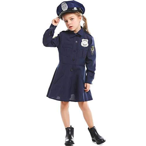 Hcxbb-b Halloween Kostüm, Kleines Mädchen Kostüm for Kinder Der Polizei, Mit Hut, Alter 4-7 (Farbe : Blau, Size : - Alte Leute Kostüm Für Kleine Kinder