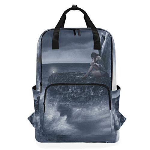 College Rucksack Reise Laptop Computer Tasche Windel Daypack für Frauen Männer Engel - Engel Geldbörse Aus Leder