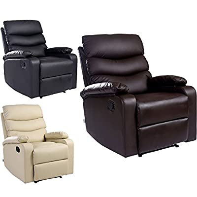 Ashby Leather Recliner Armchair Sofa Chair Reclining Home Lounge by more4homes