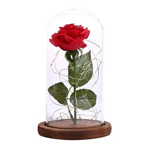 OSALADI Rose Rouge en Soie avec des pétales USB LED dans Un dôme en Verre sur Un Socle en Bois pour Le Mariage d'anniversaire de la Saint-Valentin (Brun)