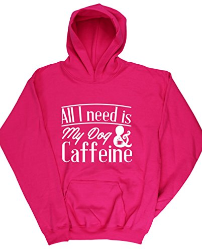 hippowarehouse-all-i-need-is-my-dog-caffeine-kids-unisex-hoodie-hooded-top