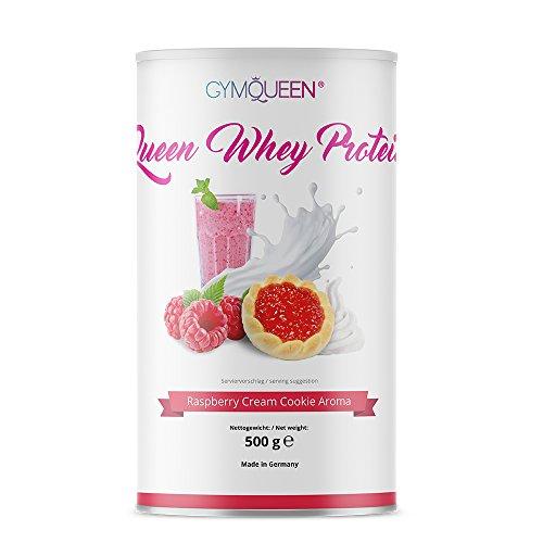 WHEY PROTEIN | Eiweißpulver | High Protein | 72g Eiweiß je 100g | proteinreicher Shake | nur 98,25 kcal/Portion (25g) | ohne Aspartam | GymQueen | 500g | Himbeer-Sahne Cookie Aroma