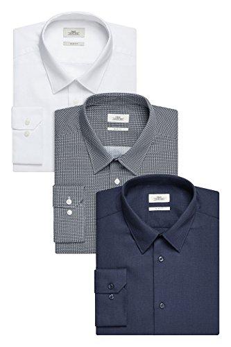 next Herren Hemden 3er-Pack Normale Passform Herrenhemd Freizeithemd Hemd Marineblau/Blau/Weiß
