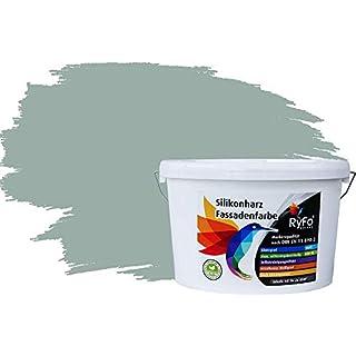 RyFo Colors Silikonharz Fassadenfarbe Lotuseffekt Trend Moos 10l - bunte Fassadenfarbe, weitere Grün Farbtöne und Größen erhältlich, Deckkraft Klasse 1