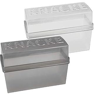 com-four® 2 Knäckebrot Dosen mit Deckel, luftdicht, Aufbewahrungsboxen, 20 x 9 x 14 cm (2 Stück - weiß/grau)