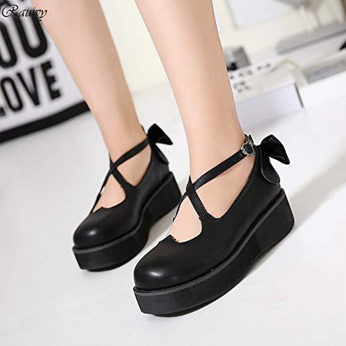 PINGXIANNV Lolita Schuhe Frauen Schuhe Rock Korean Bogen Kawaii Beste Freunde Schuhe Schwerer Boden Liebe Prinzessin Niedlich Damen Cosplay Schuhe Frau