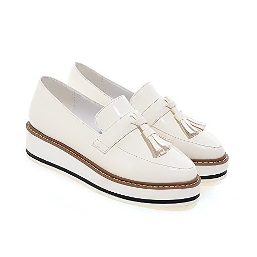 AgooLar Damen Ziehen Auf Mittler Absatz Pu Leder Rein Rund Zehe Pumps Schuhe Weiß