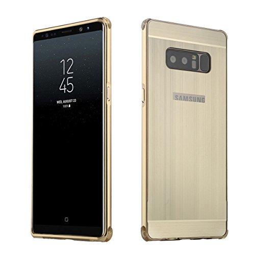 Premium Case Aluminium TPU Schutzhülle Silikon Handyhülle Tasche Case Cover für Samsung Galaxy Note8, Gold
