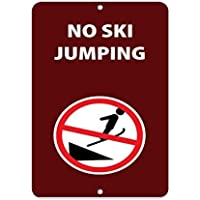 HSSS - Señal metálica de Aluminio con Texto en inglés No Ski Jumping Activity Signs Park Proscription, 20 x 30 cm