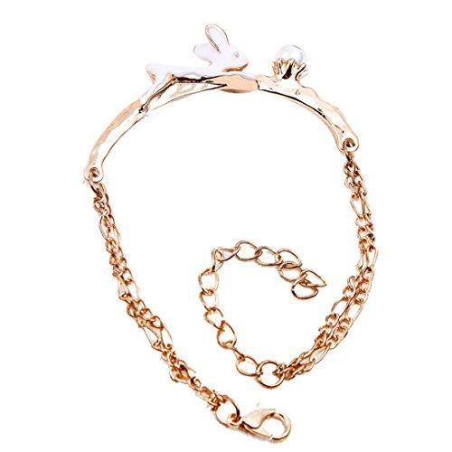 Preisvergleich Produktbild Sunnywill Schöne Hase Ring niedlichen Kaninchen Muster modische Frauen Ring Schmuck Armbänder für Frauen Mädchen Damen (B)