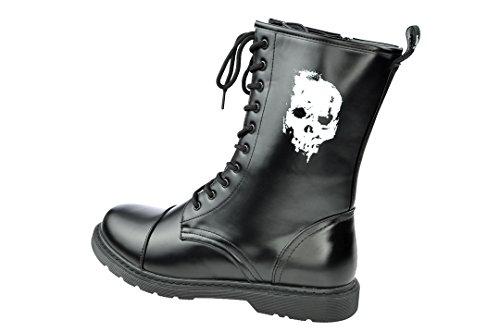 idge Boots Stiefel Dark Creationz mit verschiedenen Motiven (41, skull totenkopf schädel) (Stiefel Mit Totenköpfen)
