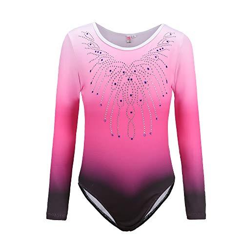 Sinoem Gymnastikanzug Mädchen Kinder Turnanzug/Ballett/Ballettröckchen Kleid Trikotanzug Tanz Kleid/Gymnastik/Training/Dancewear/Gymnastikbody für mädchen (140(7-8Jahre), Pink-Long Sleeve)