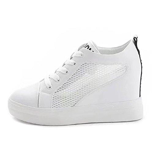 Damen Plateau Sneaker-Wedges Helle Sohle Sneakers Keilabsatz Weiß Sommer