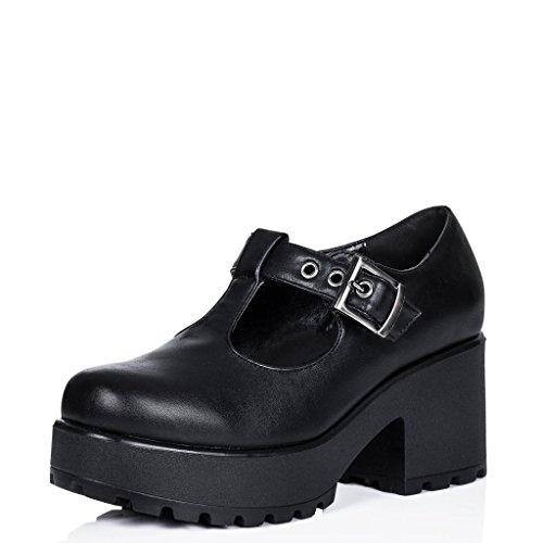 Stiefeletten Ankle Boots Schuhe Blockabsatz Plateau Schnallen Schwarz Synthetik Kunstleder EU 36 -