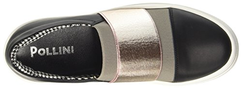 Pollini 32867, Sneaker a Collo Basso Donna Multicolore (Black Calf-Stone Elastic-Quartz Lamè Elastic)