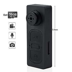 TEKMAGIC 16GB Mini Versteckte Spionage Knopfkamera Micro Spycam Diktiergerät mit Akku