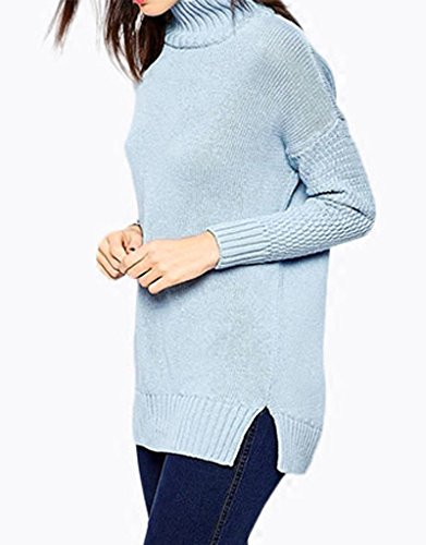 Smile YKK Einfarbig Damen Hohe Kragen Sweatshirt Oberteil Sweatshirt Tops Pullover Pulli Langarm Hellblau Hellblau