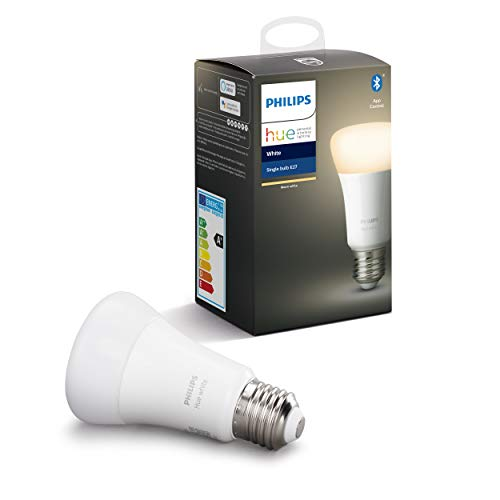 Philips Hue White E27 LED Lampe Einzelpack, dimmbar, warmweißes Licht, steuerbar via App, kompatibel mit Amazon Alexa (Echo, Echo Dot)